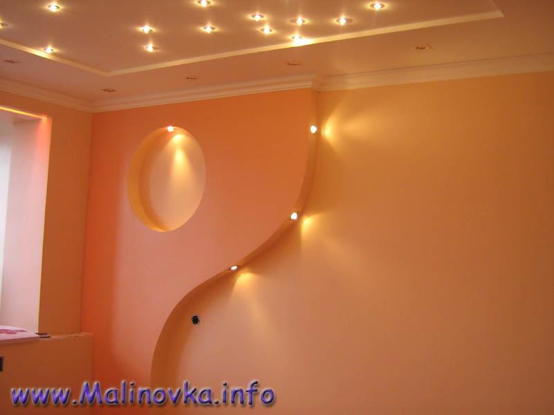 Двухъярусный потолок из гипсокартона с подсветкой своими руками видео